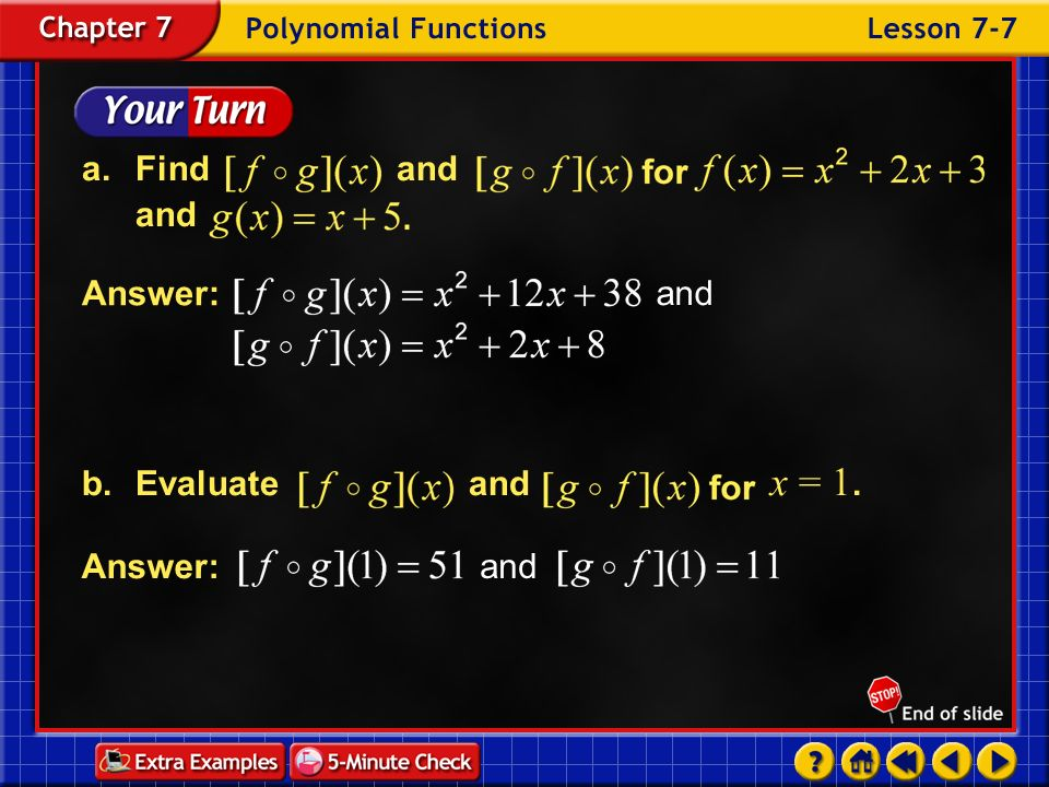 a. Find and and b. Evaluate and x = 1. Answer: and Answer: and