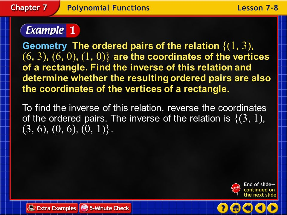 Geometry The ordered pairs of the relation {(1, 3), (6, 3), (6, 0), (1, 0)} are the coordinates of the vertices of a rectangle. Find the inverse of this relation and determine whether the resulting ordered pairs are also the coordinates of the vertices of a rectangle.