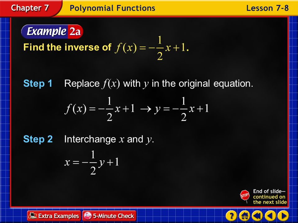 Step 1 Replace f (x) with y in the original equation.