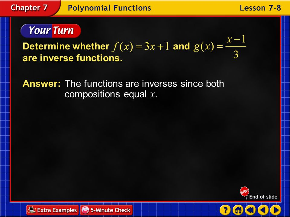Determine whether and are inverse functions.