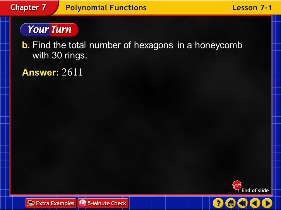 b. Find the total number of hexagons in a honeycomb with 30 rings.