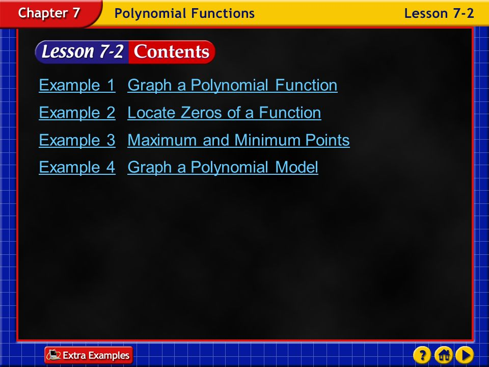 Example 1 Graph a Polynomial Function