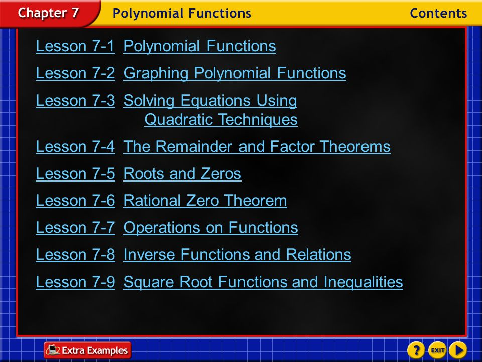 Lesson 7-1 Polynomial Functions
