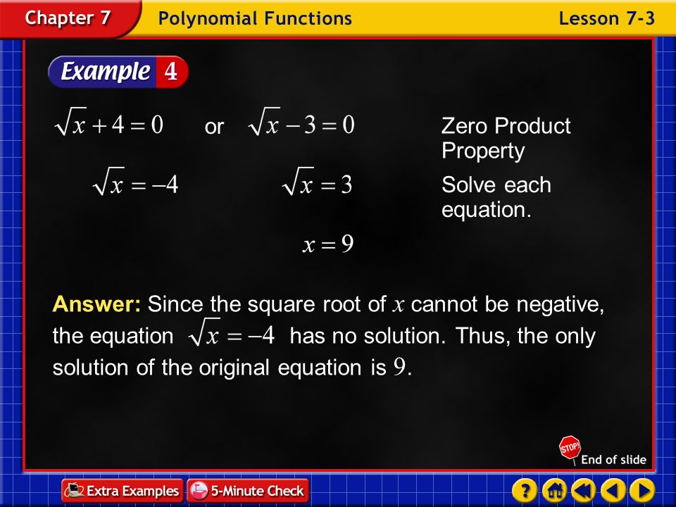 Zero Product Property or Solve each equation.