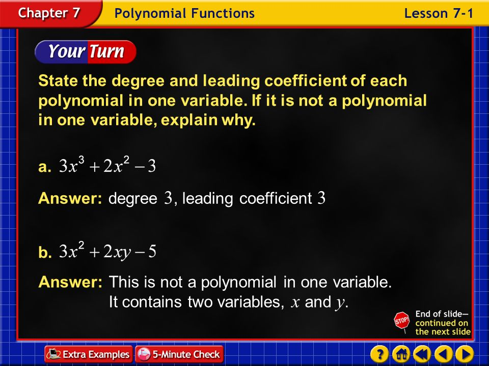 Answer: degree 3, leading coefficient 3