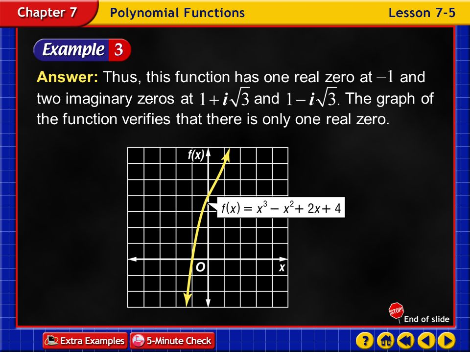 Answer: Thus, this function has one real zero at –1 and two imaginary zeros at and The graph of the function verifies that there is only one real zero.