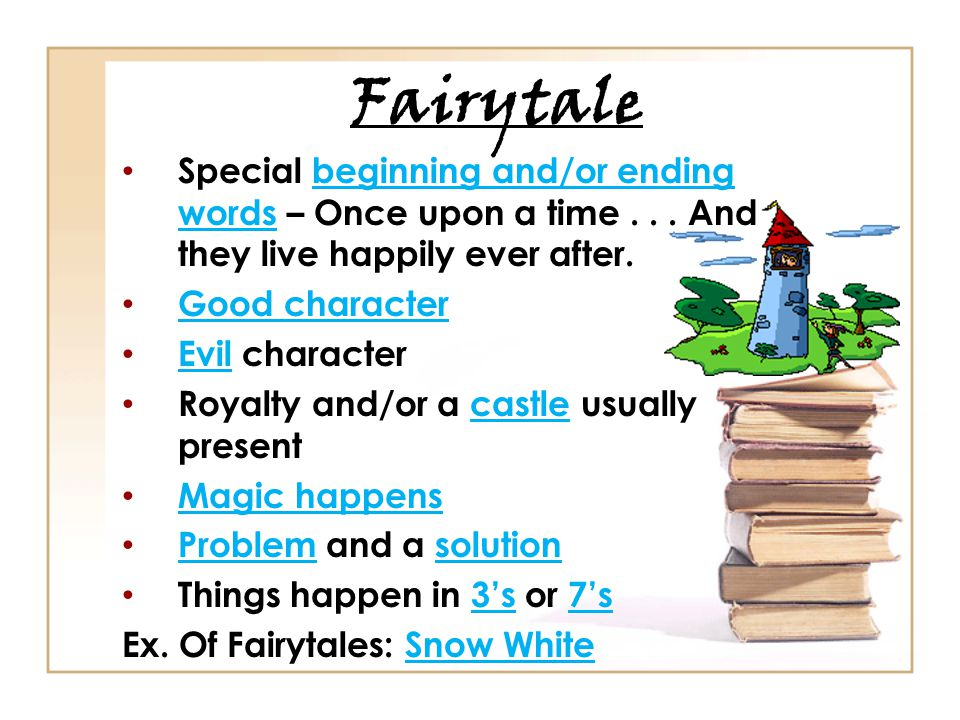 Fairytale Special beginning and/or ending words – Once upon a time . . . And they live happily ever after.