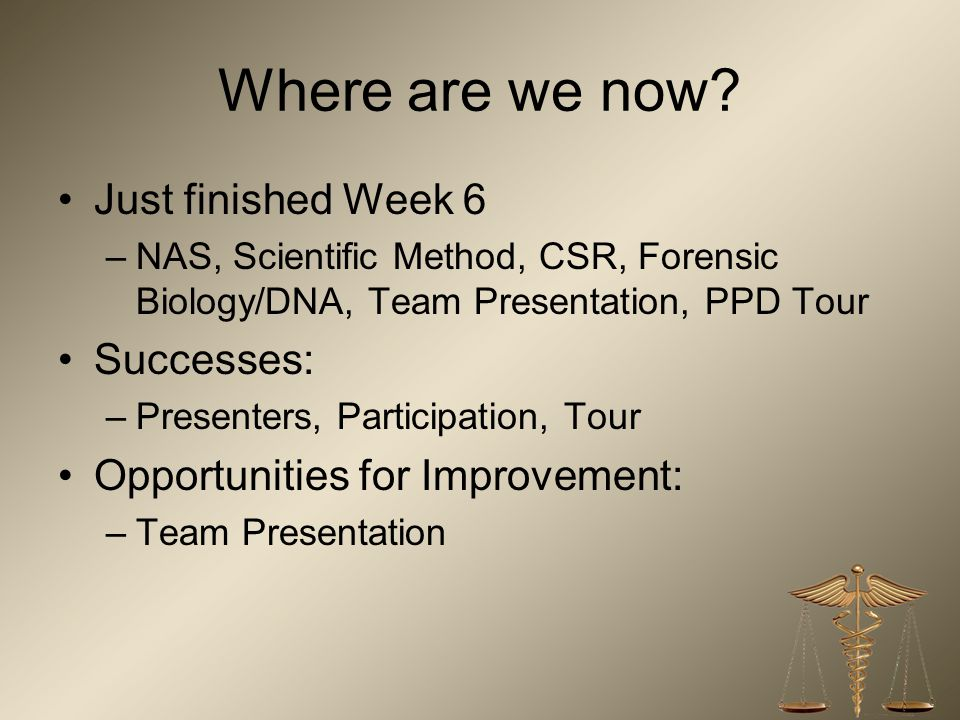 Where are we now Just finished Week 6 Successes: