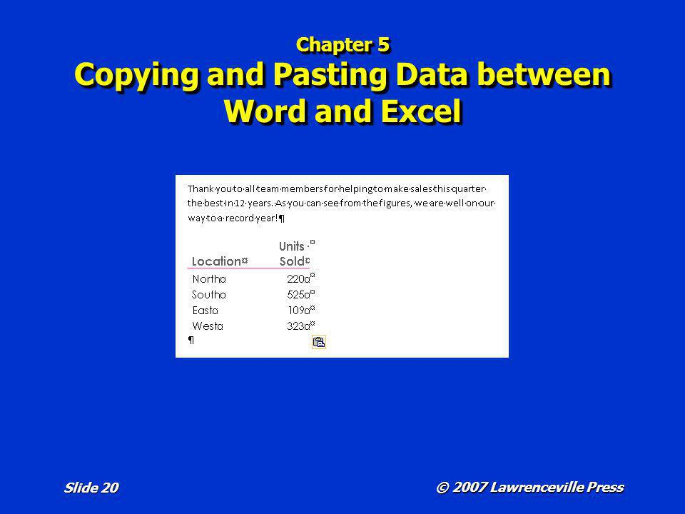 Chapter 5 Copying and Pasting Data between Word and Excel