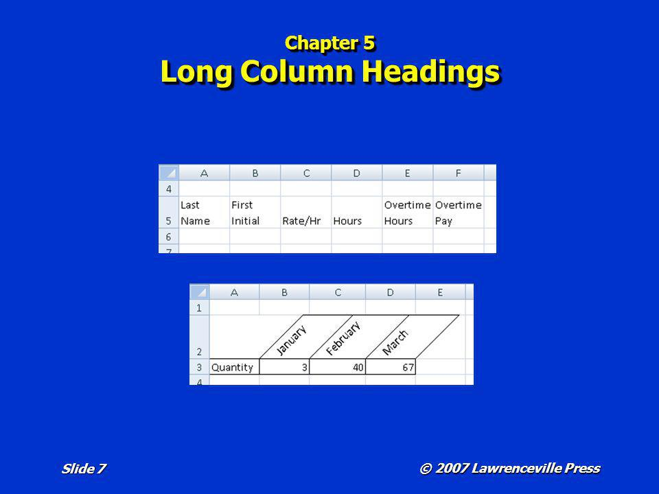 Chapter 5 Long Column Headings