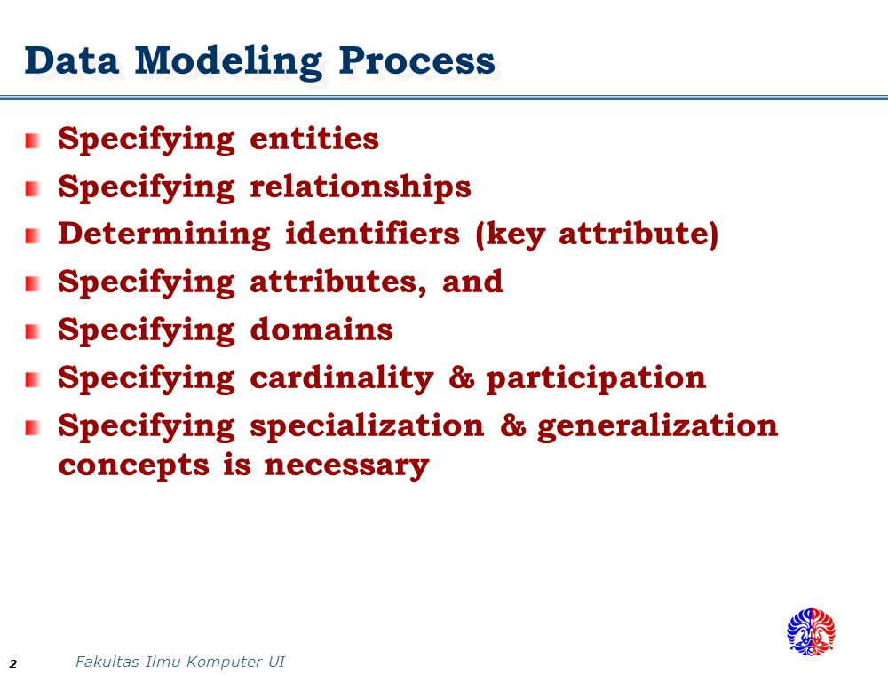 Data Modeling Process Specifying entities Specifying relationships