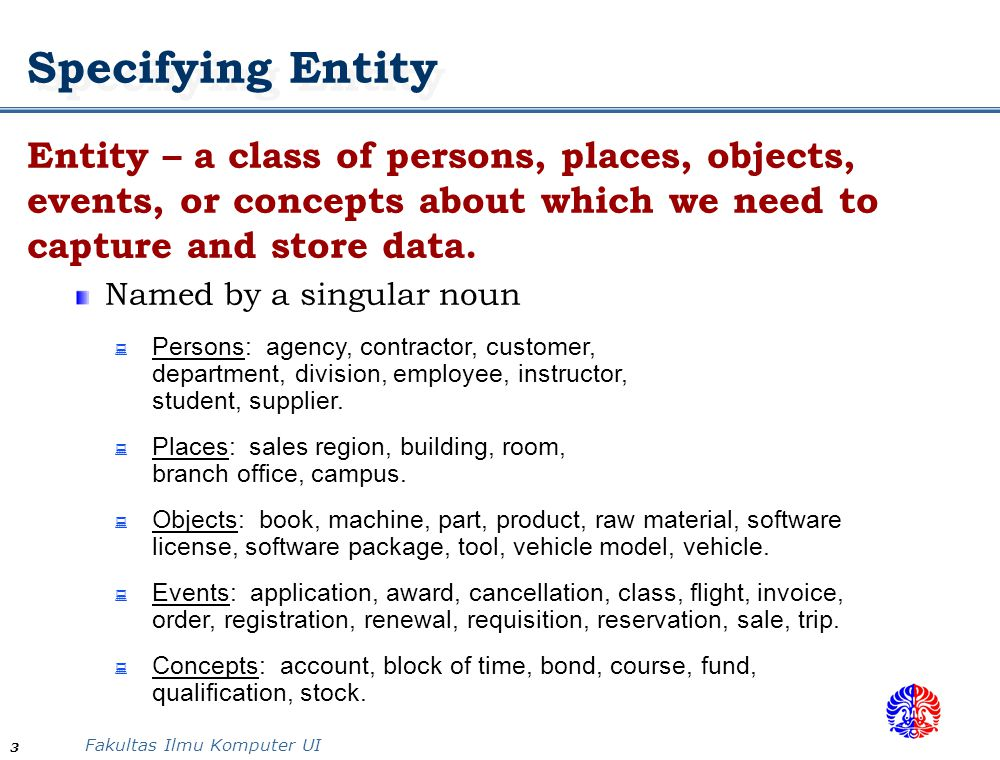 Specifying Entity Entity – a class of persons, places, objects, events, or concepts about which we need to capture and store data.