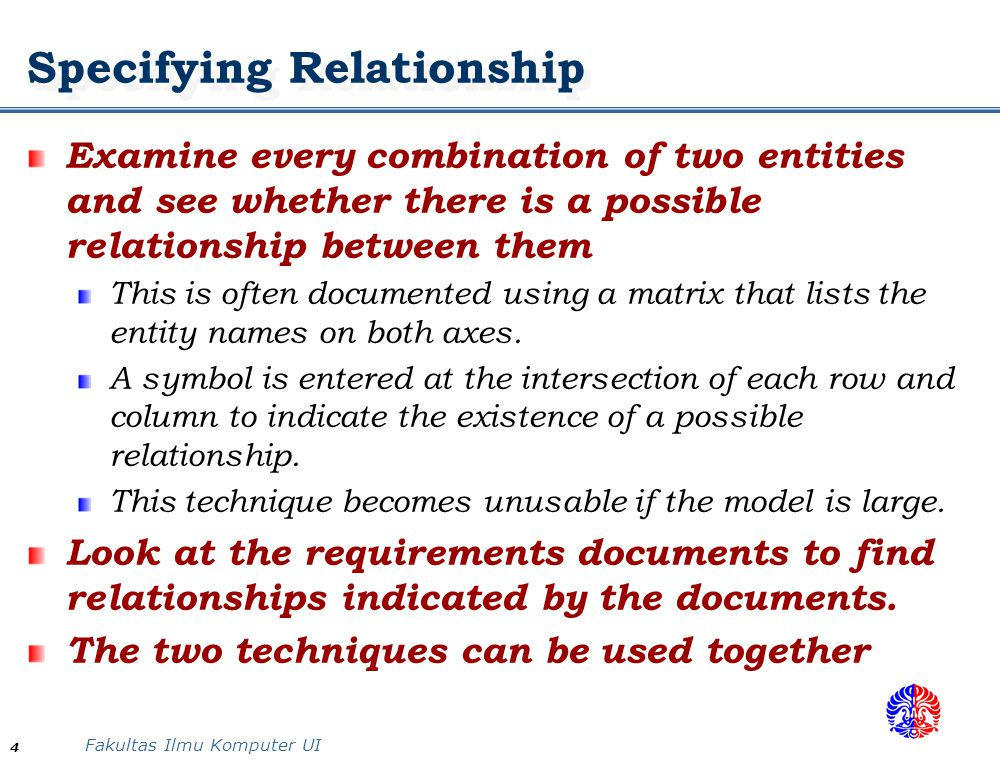 Specifying Relationship