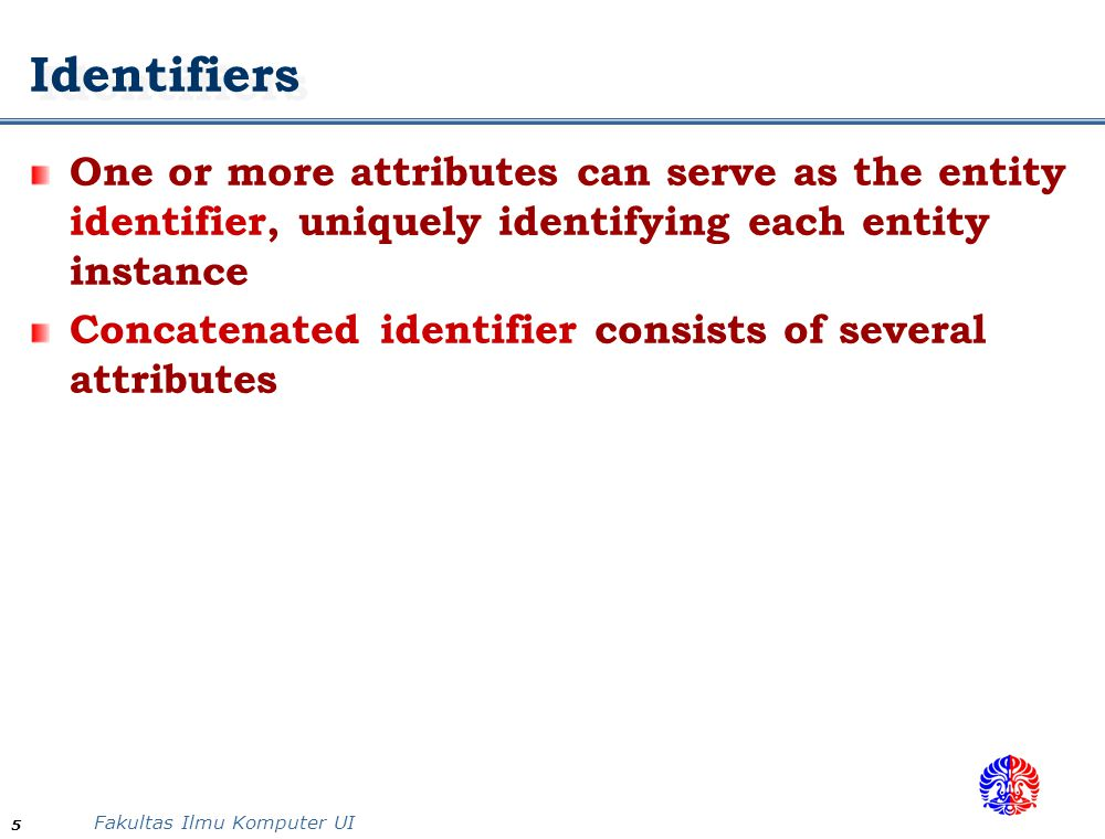 Identifiers One or more attributes can serve as the entity identifier, uniquely identifying each entity instance.