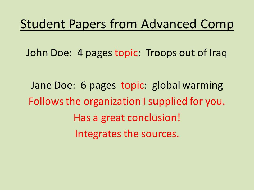 Student Papers from Advanced Comp