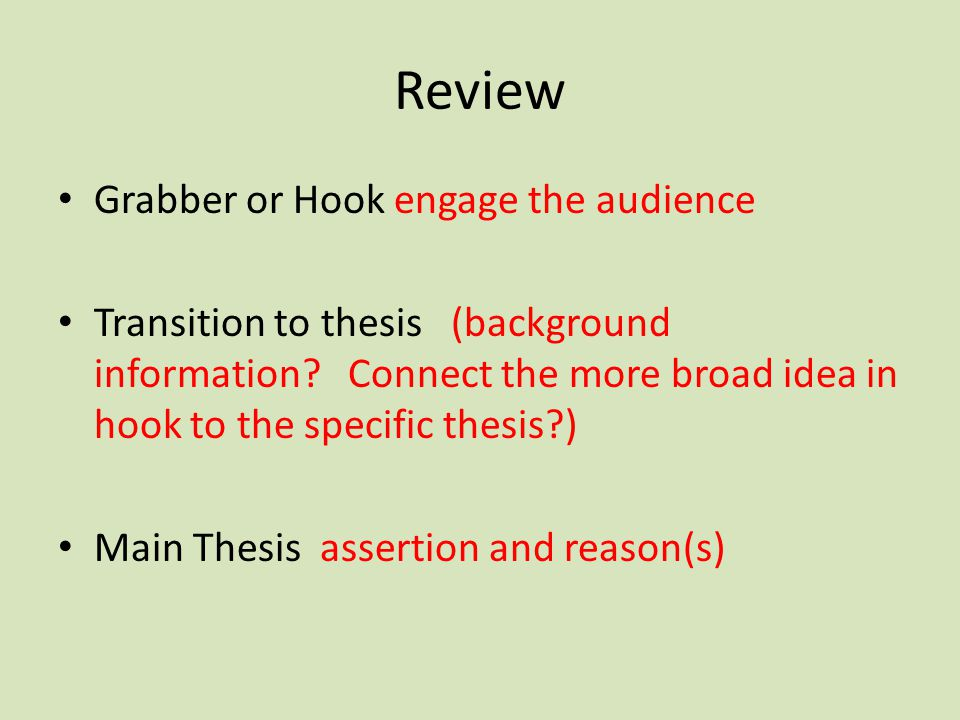 Review Grabber or Hook engage the audience