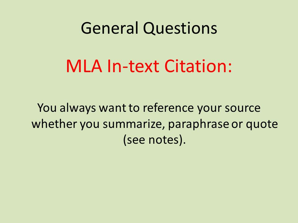 MLA In-text Citation: General Questions