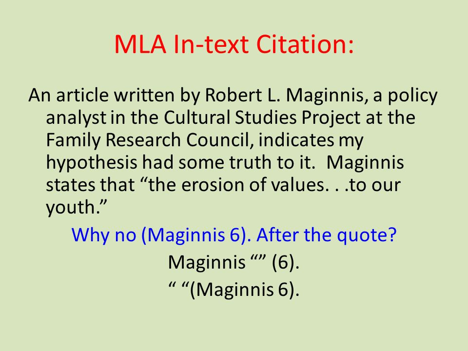 MLA In-text Citation: