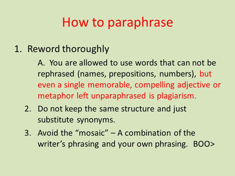 How to paraphrase Reword thoroughly