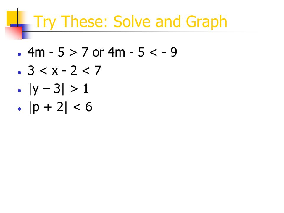 Try These: Solve and Graph