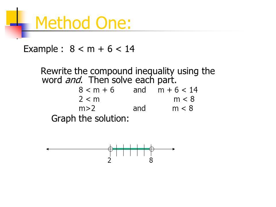 Method One: Example : 8 < m + 6 < 14