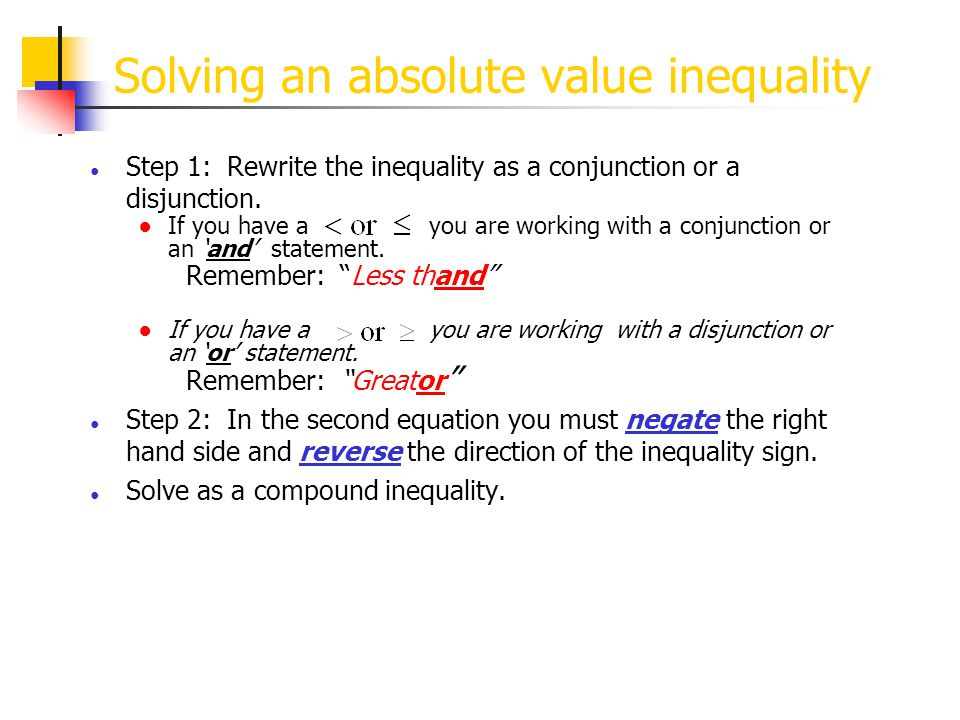 Solving an absolute value inequality