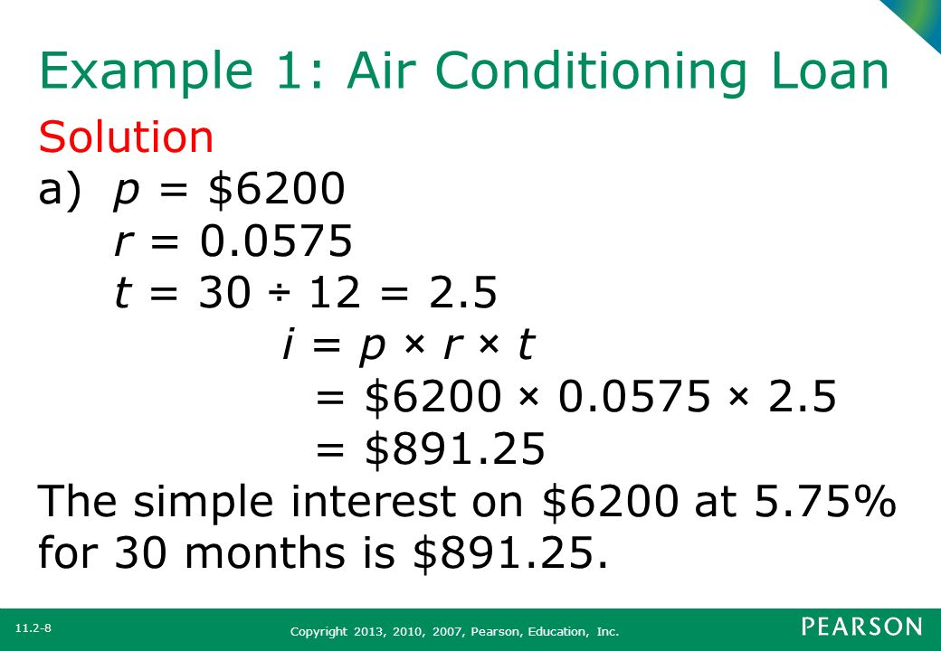 Example 1: Air Conditioning Loan