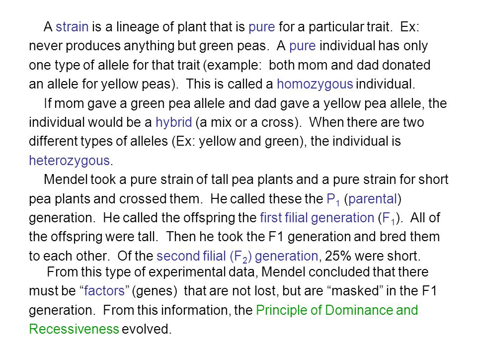 A strain is a lineage of plant that is pure for a particular trait. Ex: