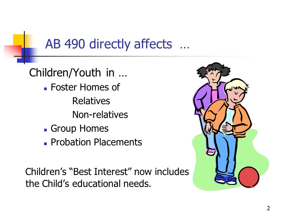 AB 490 directly affects … Children/Youth in …