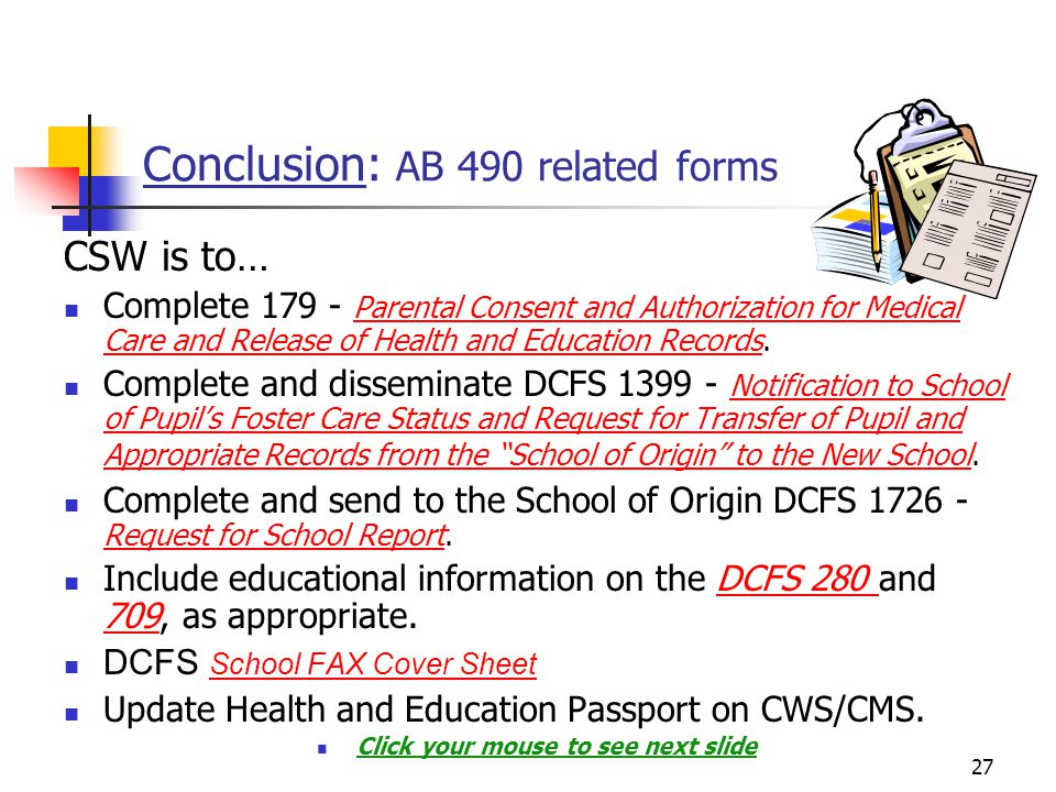 Conclusion: AB 490 related forms