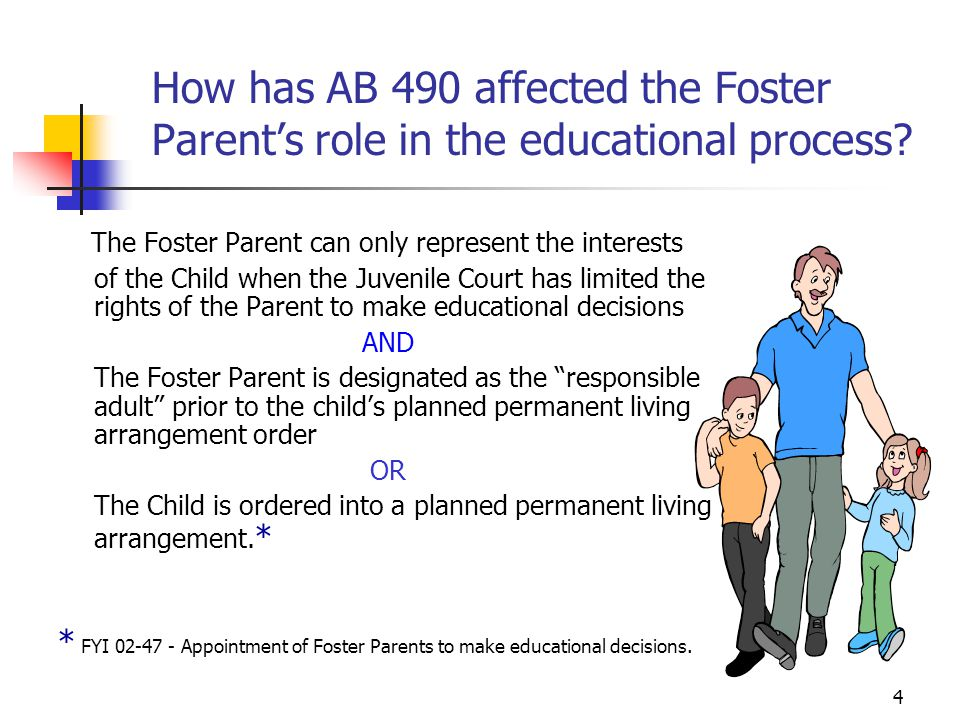 How has AB 490 affected the Foster Parent's role in the educational process