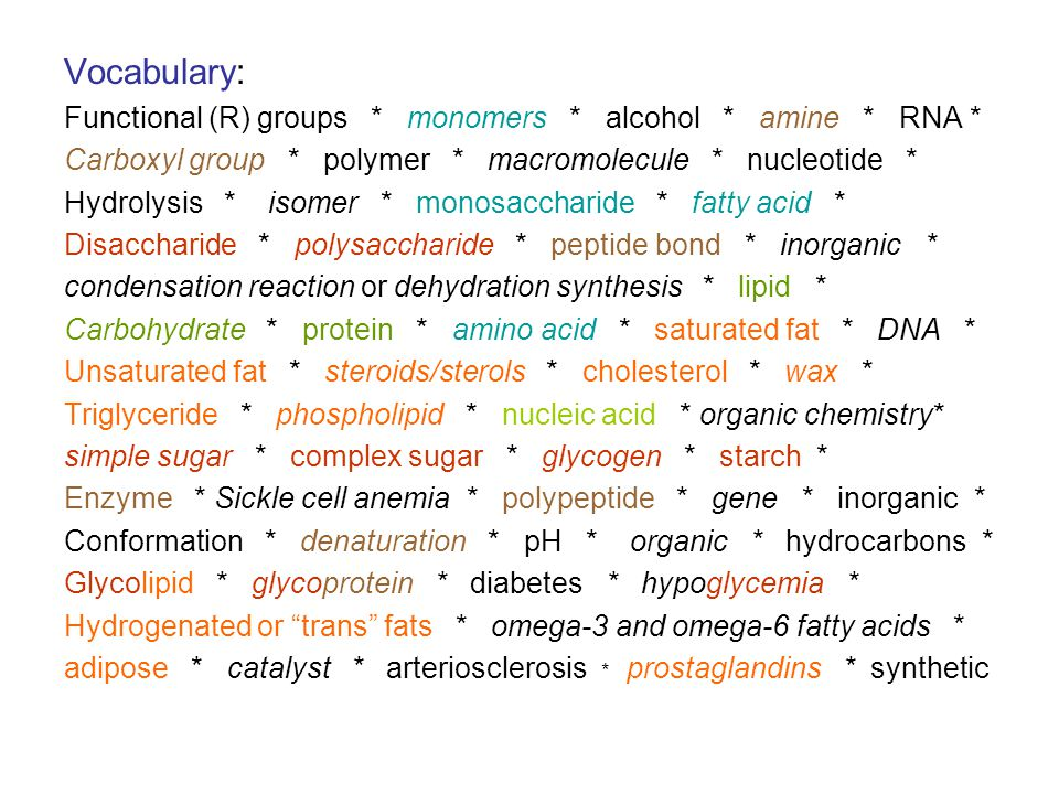 Vocabulary: Functional (R) groups * monomers * alcohol * amine * RNA *