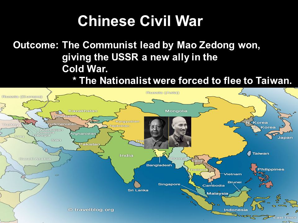 Chinese Civil War Outcome: The Communist lead by Mao Zedong won,