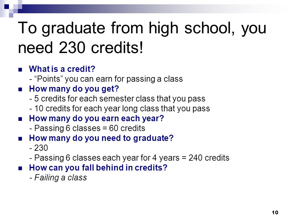 To graduate from high school, you need 230 credits!