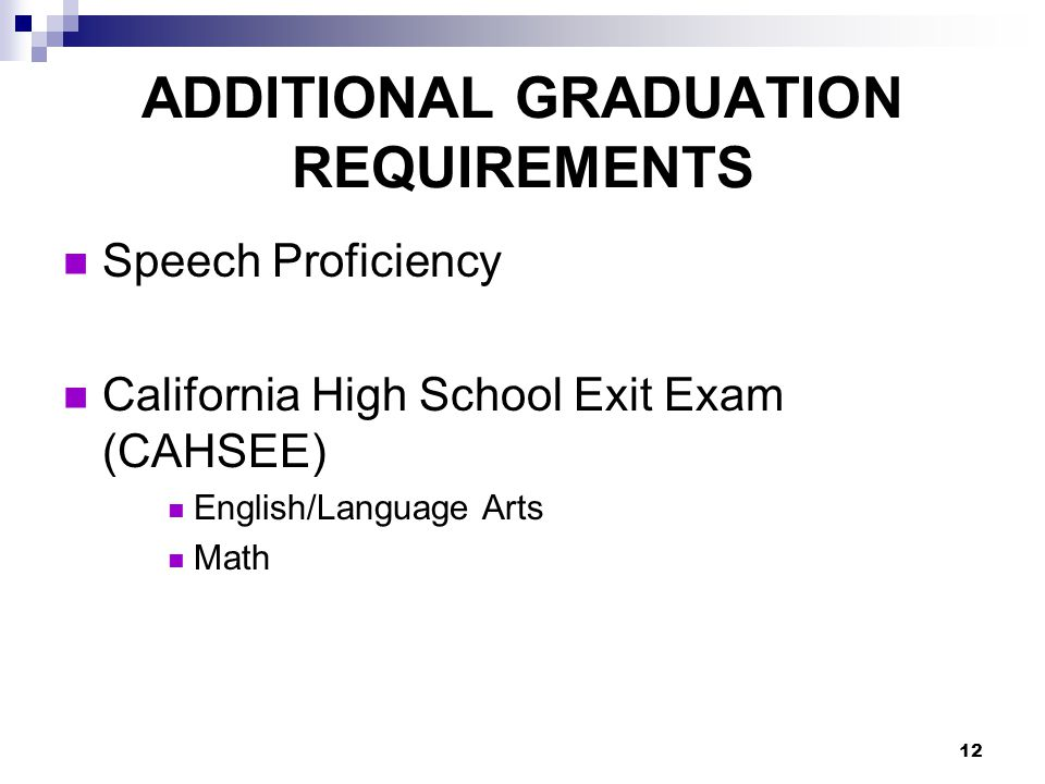 ADDITIONAL GRADUATION REQUIREMENTS