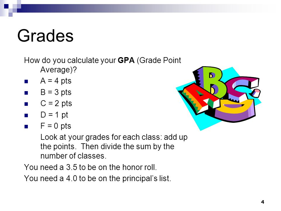 Grades How do you calculate your GPA (Grade Point Average) A = 4 pts