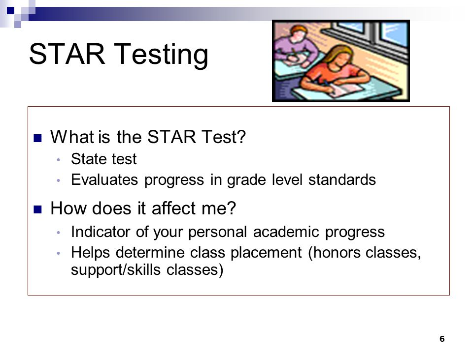 STAR Testing What is the STAR Test How does it affect me State test