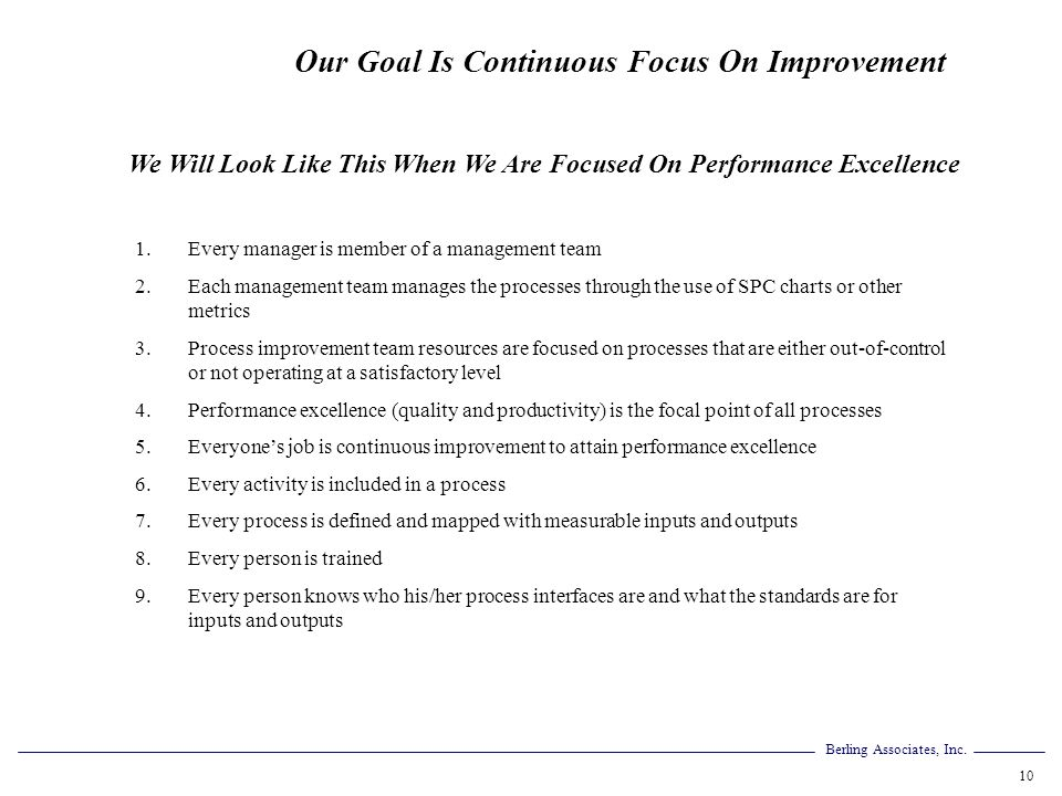 We Will Look Like This When We Are Focused On Performance Excellence
