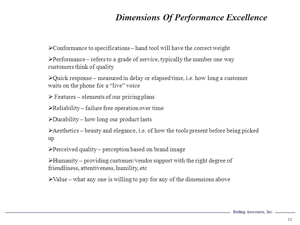Dimensions Of Performance Excellence