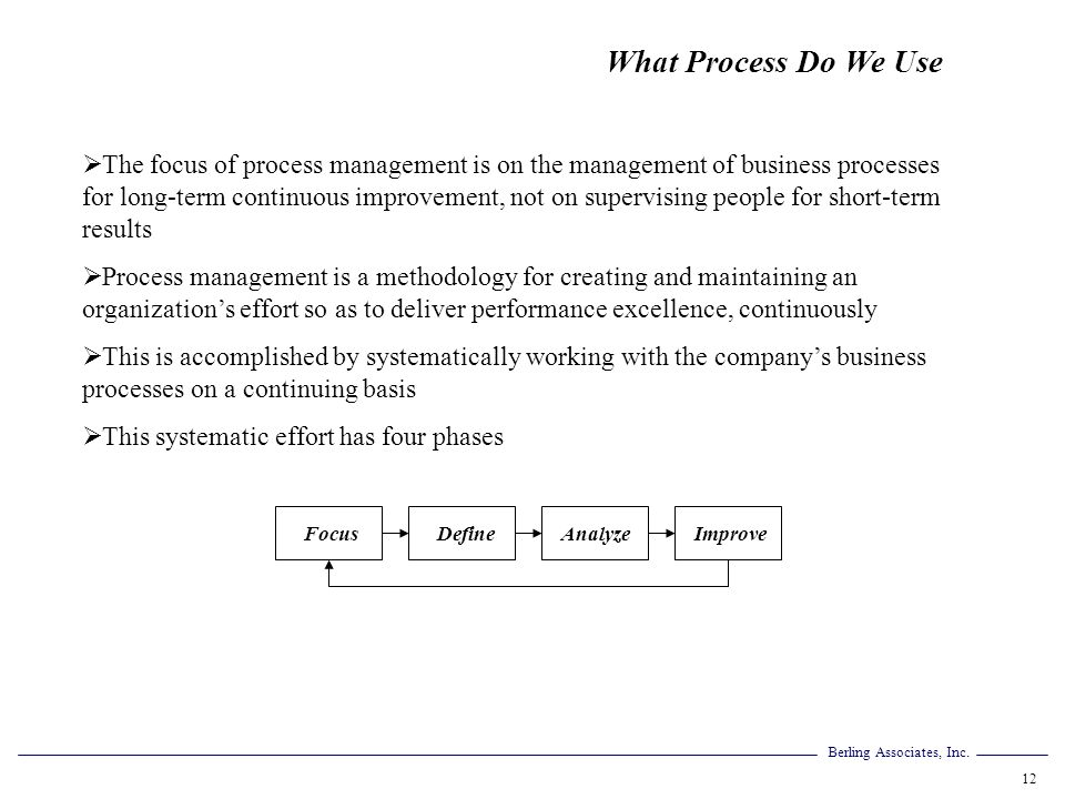 What Process Do We Use