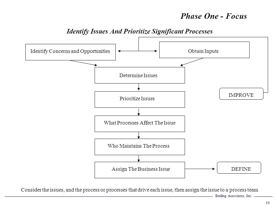Identify Issues And Prioritize Significant Processes