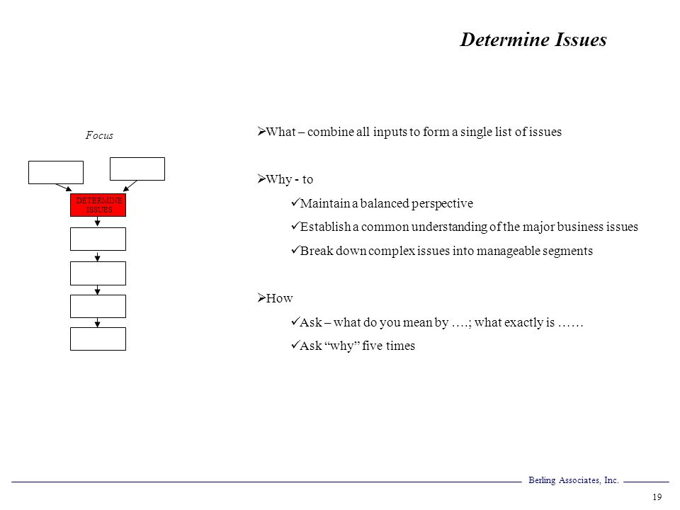 Determine Issues What – combine all inputs to form a single list of issues. Why - to. Maintain a balanced perspective.