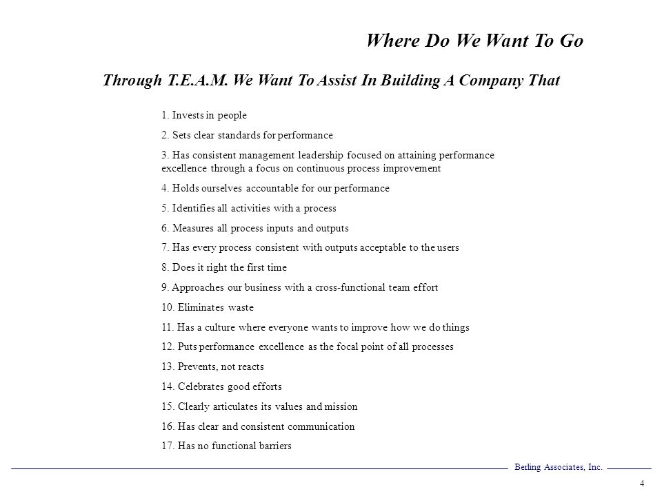 Through T.E.A.M. We Want To Assist In Building A Company That