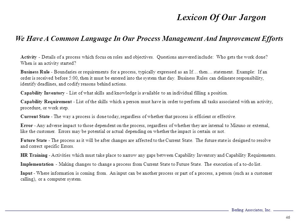 Lexicon Of Our Jargon We Have A Common Language In Our Process Management And Improvement Efforts.