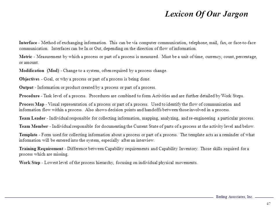 Lexicon Of Our Jargon
