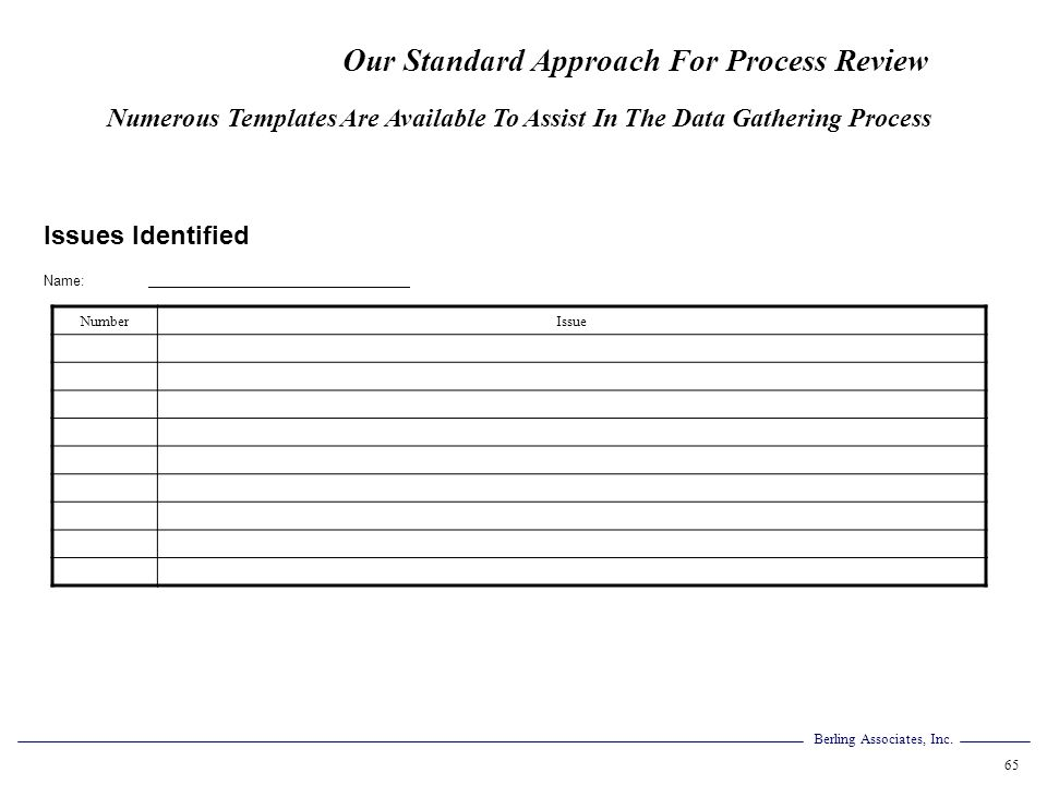 Our Standard Approach For Process Review