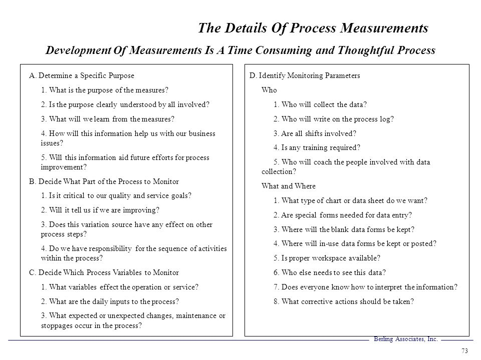 Development Of Measurements Is A Time Consuming and Thoughtful Process