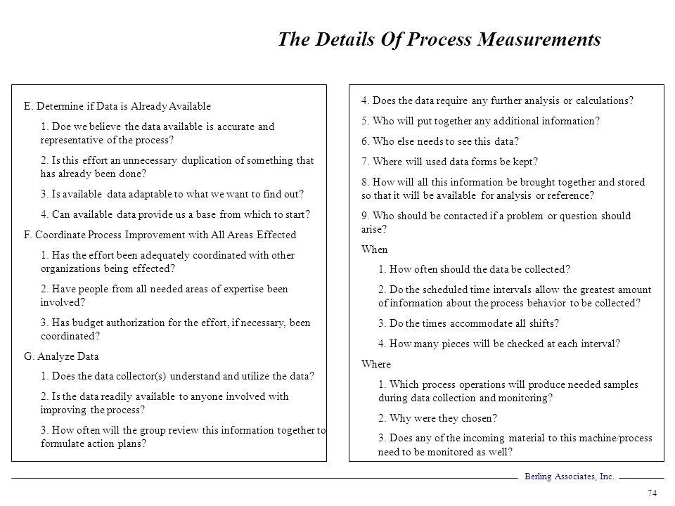 The Details Of Process Measurements