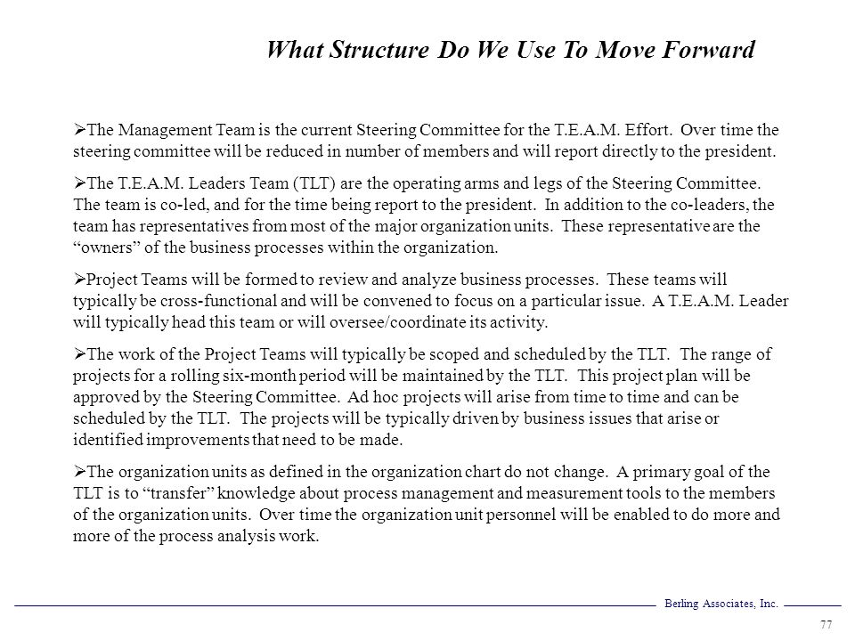 What Structure Do We Use To Move Forward