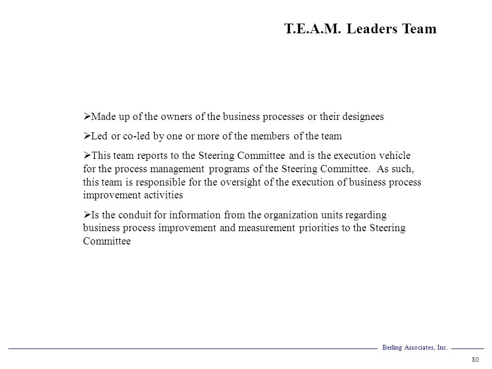 T.E.A.M. Leaders Team Made up of the owners of the business processes or their designees. Led or co-led by one or more of the members of the team.